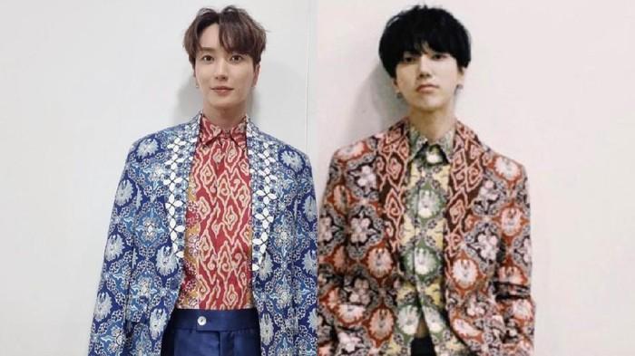 Yesung dan Leeteuk Super Junior memakai batik rancangan Ridwan Kamil