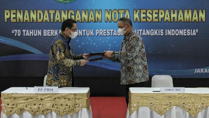 BNI jalin kerjasama sponsorship dengan Persatuan Bulutangkis Seluruh Indonesia (PBSI) di Jakarta.