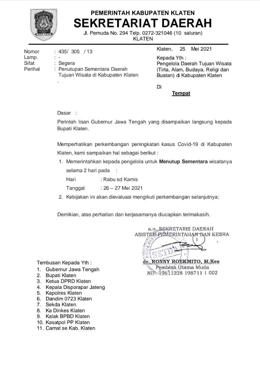 Surat edaran objek wisata Klaten ditutup saat Hari Raya Waisak