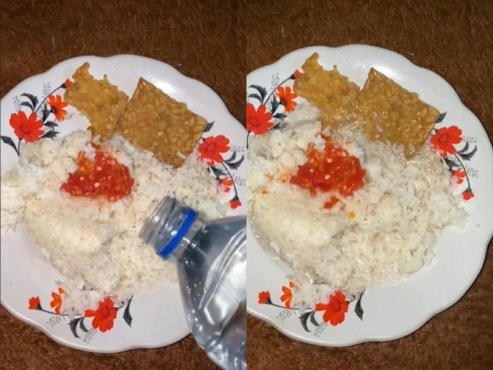 Viral Makan Nasi Pakai Air Putih