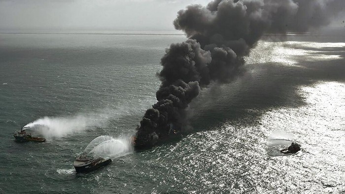 In this photo provided by Sri Lanka Air Force, smoke rises from the container vessel MV X-Press Pearl engulfed in flames off Colombo port, Sri Lanka, Wednesday, May 26, 2021. A fire on a container ship carrying chemicals raged off Sri Lanka for a sixth day Wednesday and India sent vessels to help douse the blaze, officials said. (Sri Lanka Air Force via AP)