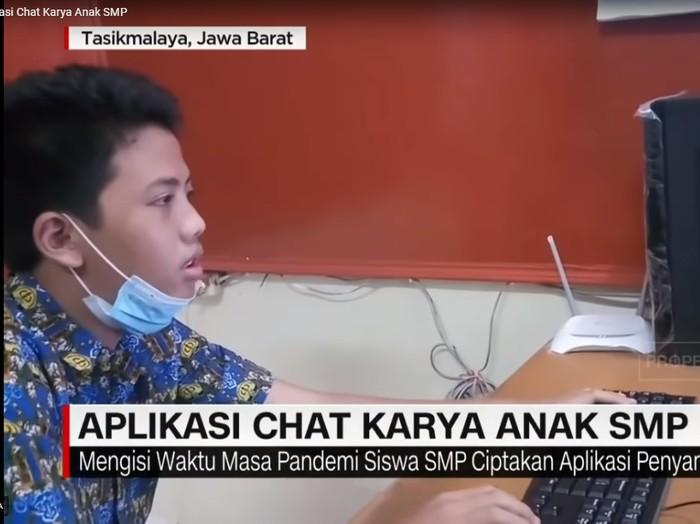 Siswa SMP Negeri 4 Kota Tasikmalaya bernama Fazri Arasshy Putra berhasil buat aplikasi chat
