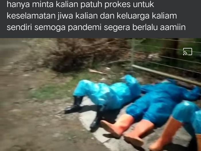 Tangkapan layar video petugas pemakaman Corona BPBD Kudus tidur ber-APD