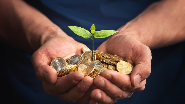 Man Using euro money to invest in a new small business