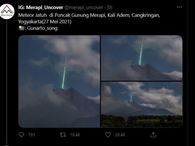 Foto viral meteor jatuh di Puncak Gunung Merapi