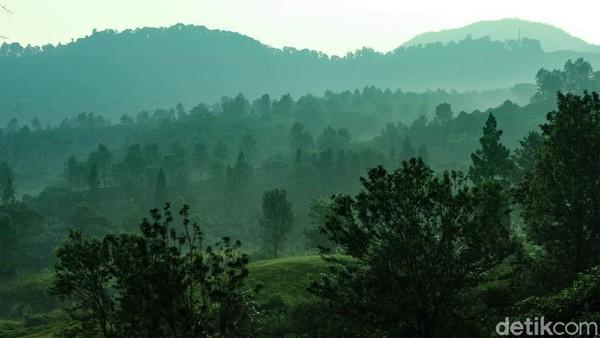Siluet perbukitan di kawasan Puncak terlihat cantik saat pagi beberapa waktu lalu. Warna hijau mendominasi pemandangan.