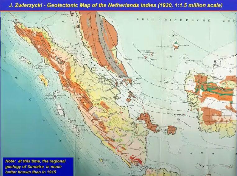 Peta Geotektonik Hindia Belanda (Indonesia) yang dibuat Jozef Zwierzycki pada 1930
