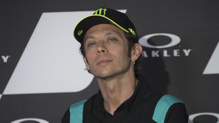 SCARPERIA, ITALY - MAY 27: Valentino Rossi of Italy and Petronas Yamaha SRT  looks on during the press conference pre-event during the MotoGP Of Italy - Previews at Mugello Circuit on May 27, 2021 in Scarperia, Italy. (Photo by Mirco Lazzari gp/Getty Images)