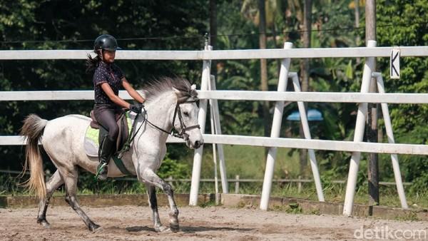 Anak-anak juga bisa berkeliling dengan kuda.