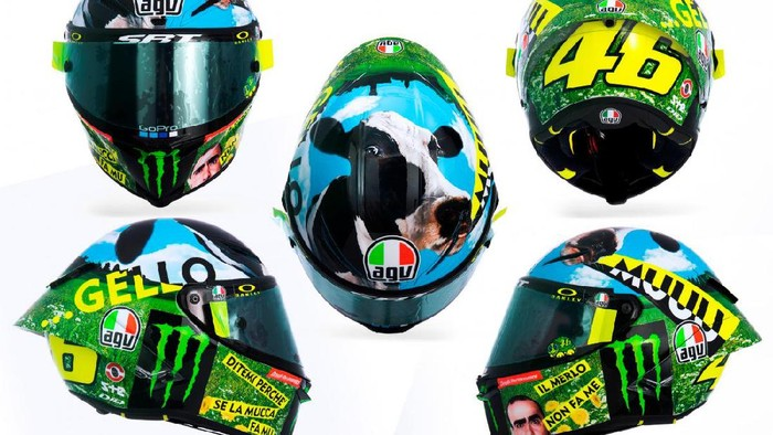 Helm bercorak sapi milik Valentino Rossi di MotoGP Italia 2021
