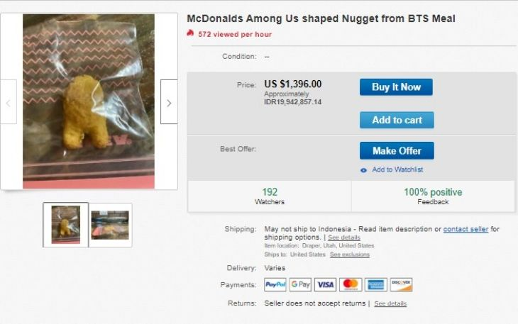 Wow! Chicken Nugget Bentuk Among Us dari The BTS Meal Dilelang Rp 20 Juta