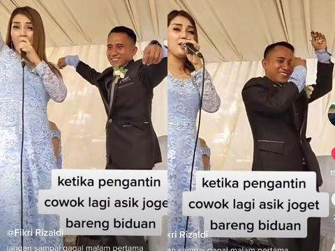 Foto pengantin viral di TikTok, pengantin pria asyik joget bersama biduan langsung dijewer pengantin wanita.