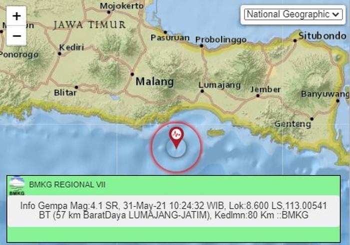 Gempa M 4,1 Terjadi di Kabupaten Lumajang