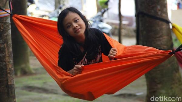 Pengunjung bisa menikmati hutan damar dengan berkeliling hutan, berfoto, bahkan tiduran santai menggunakan buaian atau hammock.