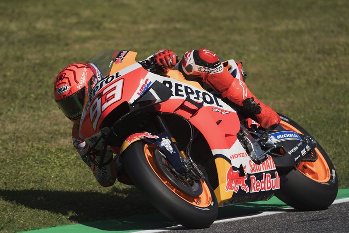 SCARPERIA, ITALY - MAY 28: Marc Marquez of Spain and Repsol Honda Team rounds the bend during the MotoGP Of Italy - Free Practice at Mugello Circuit on May 28, 2021 in Scarperia, Italy. (Photo by Mirco Lazzari gp/Getty Images)