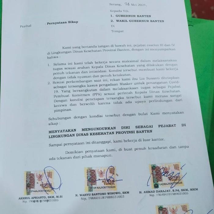 Pejabat Dinkes Banten Mengundurkan Diri
