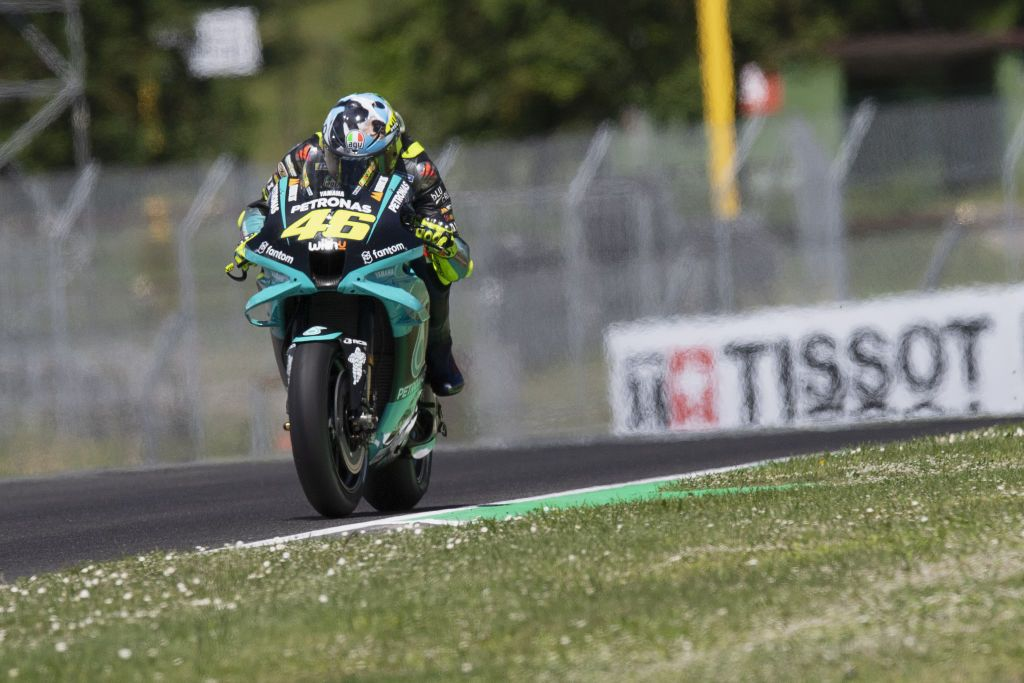 SCARPERIA, ITALY - MAY 30: Valentino Rossi of Italy and Petronas Yamaha SRT  heads down a straight  during the MotoGP race during the MotoGP Of Italy - Race at Mugello Circuit on May 30, 2021 in Scarperia, Italy. (Photo by Mirco Lazzari gp/Getty Images)