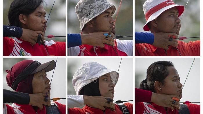 Foto combo (dari kiri atas, searah jarum jam) : Enam atlet panahan nomor recurve beregu putra dan putri Arif Pangestu, Alviyanto Bagas, Riau Ega Agata, Rezza Octavia, Diananda Choirunisa, dan Kusumawardani berlatih dalam Pelatnas Olimpiade di Lapangan Panahan Gelora Bung karno (GBK), Jakarta, Selasa (1/6/2021). Setelah memastikan dua atletnya yaitu Riau Ega dan Diananda Choirunisa lolos dalam nomor perorangan recurve di Olimpiade Tokyo, Persatuan Panahan Seluruh Indonesia (Perpani) menargetkan menambah wakil di Olimpiade pada nomor recurve beregu putra maupun putri melalui tiket tersisa dari Kejuaraan Dunia Panahan di Prancis pada Juni ini.  ANTARA FOTO/Aditya Pradana Putra