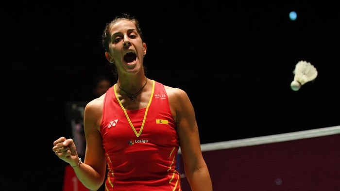 CHOFU, JAPAN - SEPTEMBER 16:  Carolina Marin of Spain celebrates after winning a point in the womens singles final match against Nozomi Okuhara of Japan on day six of the Yonex Japan Open at Musashino Forest Sports Plaza on September 16, 2018 in Chofu, Tokyo, Japan.  (Photo by Atsushi Tomura/Getty Images)