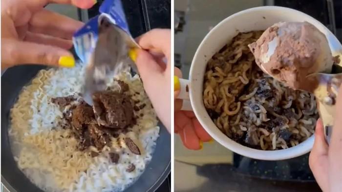 Bikin Mual! Wanita Ini Masak Mie Instan Pakai Oreo dan Es Krim Cokelat