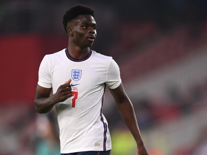 MIDDLESBROUGH, ENGLAND - JUNE 02: England player Bukayo Saka in action during the international friendly match between England and Austria at Riverside Stadium on June 02, 2021 in Middlesbrough, England. (Photo by Stu Forster/Getty Images)
