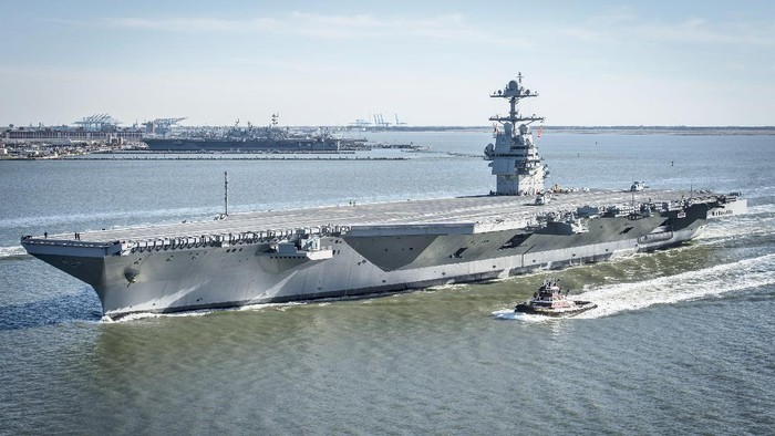 170408-N-WZ792-198  NEWPORT NEWS, Va. (April 8, 2017) The future USS Gerald R. Ford (CVN 78) underway on its own power for the first time. The first-of-class ship -- the first new U.S. aircraft carrier design in 40 years -- will spend several days conducting builder's sea trials, a comprehensive test of many of the ship's key systems and technologies. (U.S. Navy photo by Mass Communication Specialist 2nd Class Ridge Leoni/Released)