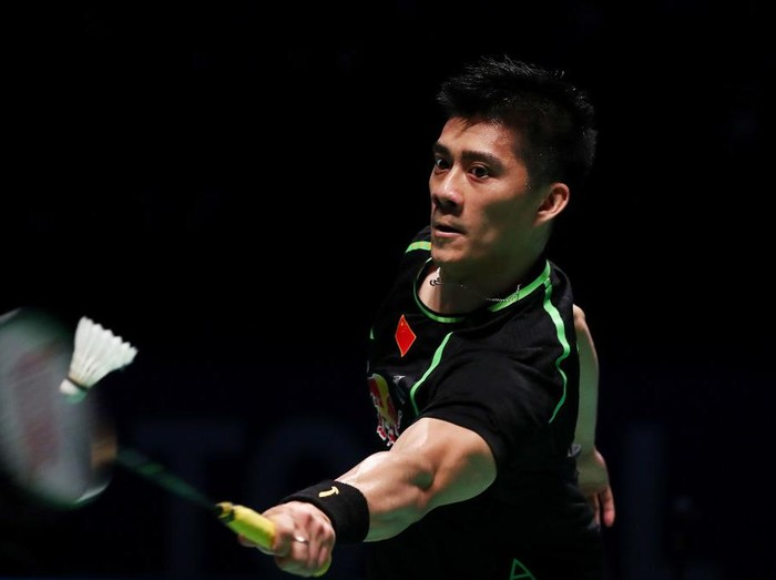 GOLD COAST, AUSTRALIA - MAY 28:  Fu Haifeng of China competes in the Mens doubles partnered with Zhang Nan against Seung Jae Seo and Choi Solgyu of Korea during the Final match during the Sudirman Cup at the Carrara Sports & Leisure Centre on May 28, 2017 in Gold Coast, Australia.  (Photo by Chris Hyde/Getty Images)