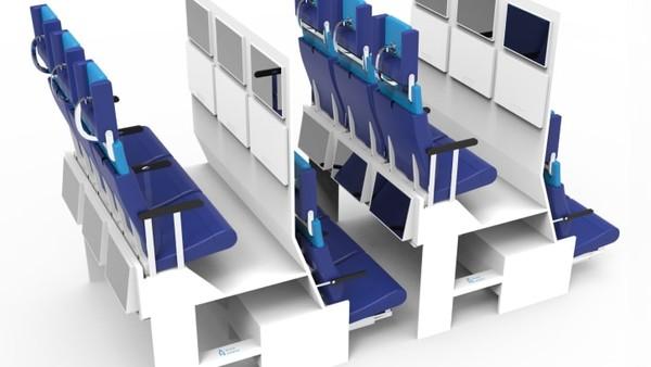 Desain kabin double decker yakni menghilangkan kompartemen bagasi di atas kepala. Proyeknya itu memungkinkan lebih banyak ruang di kabin untuk kursi tingkat yang lebih tinggi dan sebaliknya, bagasi disimpan di kompartemen di bawah kursi.