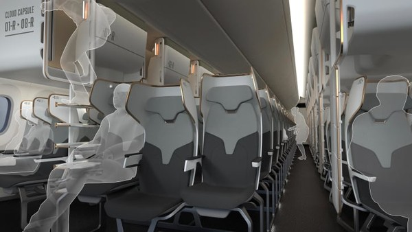 Lalu ada lagi konsep CLOUD CAPSULE Toyota Boshoku. Mereka membuat area di atas kursi ekonomi sebagai ruang tambahan bagi penumpang untuk istirahat begitu pesawat mencapai ketinggian jelajah.