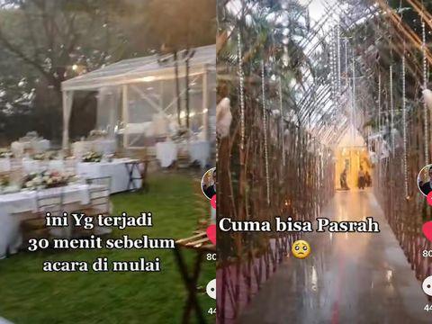 Kisah viral dekorasi pernikahan yang cantik, tiba-tiba diguyur hujan.