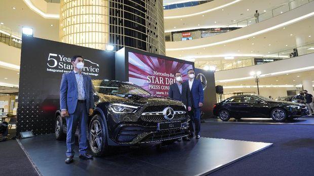 Peluncuran dua mobil baru Mercedes-Benz di Indonesia, yakni A 200 Sedan Progressive Line dan GLA 200 AMG Line, Kamis, (3/6/2021).