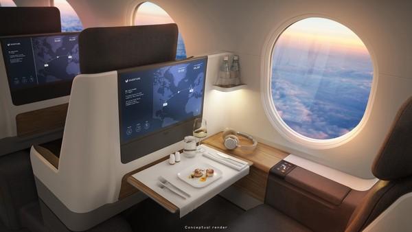 Jika maskapai dapat merealisasikan rencananya, ini akan menjadi penerbangan supersonik komersial pertama sejak larangan terbang pesawat Concorde pada tahun 2003. Kabin lega di pesawat supersonik United Airlines.