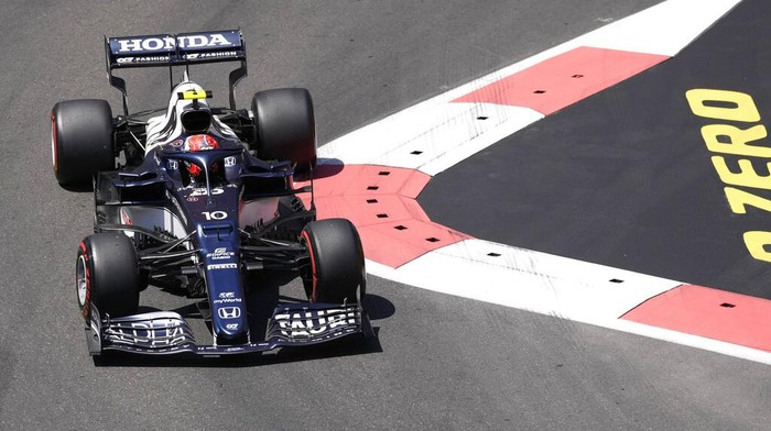 AlphaTauri driver Pierre Gasly of France steers his car during the third free practice session at the Baku Formula One city circuit in Baku, Azerbaijan, Saturday, June 5, 2021. The Azerbaijan Formula One Grand Prix will take place on Sunday. (AP Photo/Darko Vojinovic)