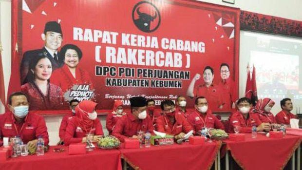 Rakercab DPC PDIP Kabupaten Kebumen, Sabtu (29/5/2021).