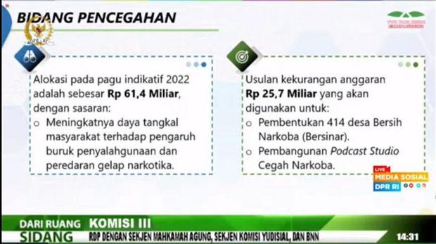 BNN mengusulkan penambahan anggaran untuk tahun anggaran 2022 sebesar Rp 1,2 triliun lebih (dok YouTube DPR RI)