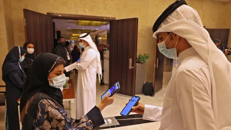 Riyadh menggelar konser musik pertama saat pandemi virus Corona pada 3 Juni 2021. (Photo by Fayez Nureldine / AFP)