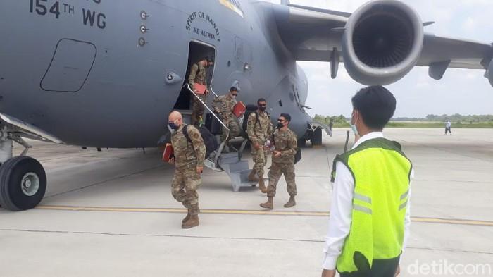Pesawat militer AS C-17 Globe Master mendarat di Pekanbaru dalam rangka latihan bersama TNI AU bertajuk Exercise Cope West 2021 (Dok Kapentak Lanud RSN)