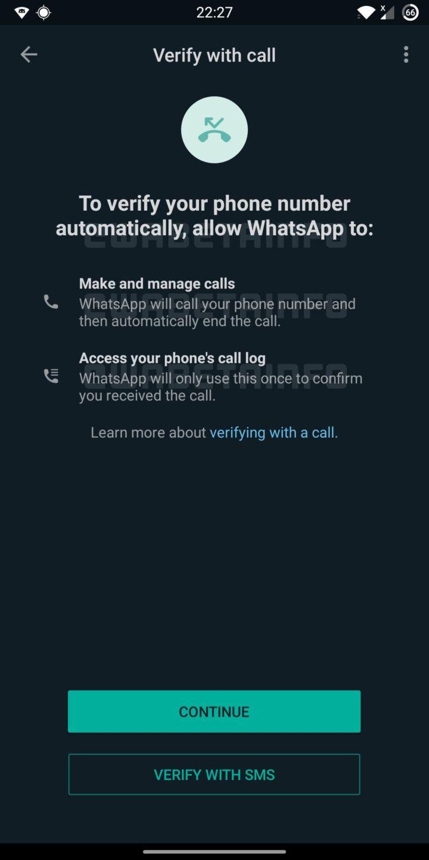 WhatsApp flash call