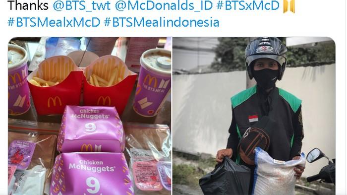 Viral di Twitter Army -- nama fanbase BTS -- bernama Nadiah Abidin memberikan sekarung beras dan bingkisan kepada driver ojol yang mengantri beli BTS Meal. Lewat akun @nadiahabidin, ia berbagi rasa syukurnya bisa mendapatkan paket makanan yang sudah ia incar-incar.