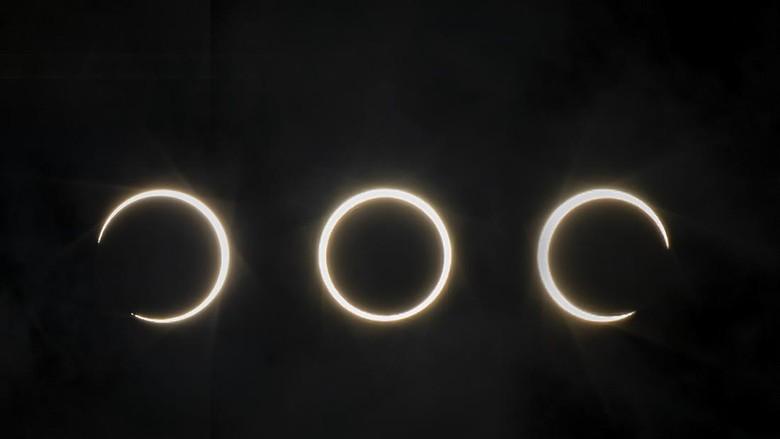 Foto kombo proses terjadinya gerhana matahari cincin di lihat dari Batam, Kepulauan Riau, Rabu (26/12/2019). ANTARA FOTO/M N Kanwa/foc.