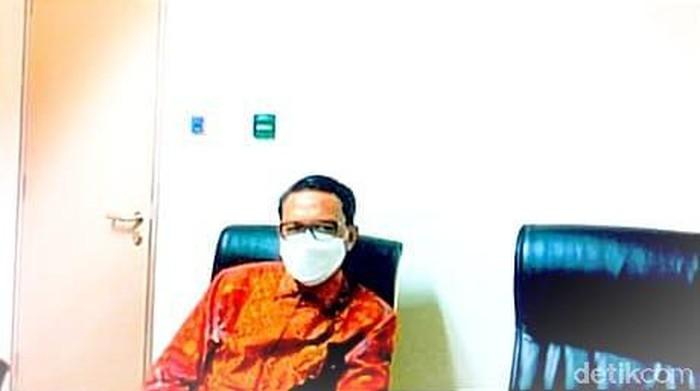 Gubernur Sulsel nonaktif Nurdin Abdullah hadir secara virtual dalam sidang terdakwa Agung Sucipto di PN Makassar (Hermawan/detikcom).