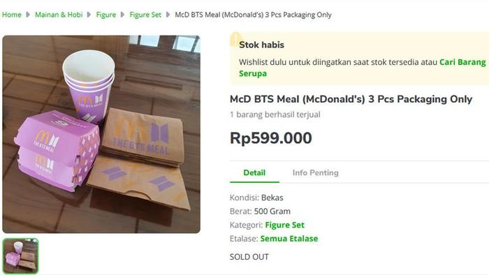 Wow! Kemasan BTS Meal Dijual Online Seharga Rp 600 ribu