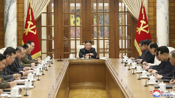 In this photo provided by the North Korean government, Kim Jong Un attends a meeting in Pyongyang, North Korea, Friday, June 4, 2021. Kim has presided over a meeting of his ruling party in his first public appearance in about a month, and called for a larger political conference to discuss efforts to salvage a decaying economy. Independent journalists were not given access to cover the event depicted in this image distributed by the North Korean government. The content of this image is as provided and cannot be independently verified. (Korean Central News Agency/Korea News Service via AP)