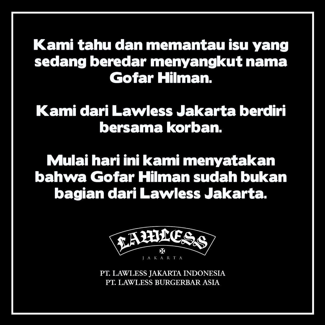 Pernyataan Lawless Jakarta soal Gofar Hilman
