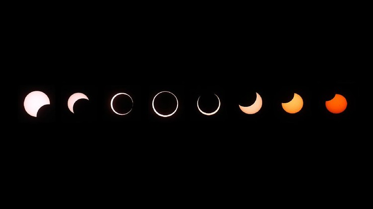 GRAND CANYON NATIONAL PARK, AZ - MAY 20:  A composite of images of the first annular eclipse seen in the U.S. since 1994 shows several stages, left to right, as the eclipse passes through annularity and the sun changes color as it approaches sunset on May 20, 2012 in Grand Canyon National Park, Arizona. Differing from a total solar eclipse, the moon in an annular eclipse appears too small to cover the sun completely, leaving a ring of fire effect around the moon. The eclipse is casting a shallow path crossing the West from west Texas to Oregon then arcing across the northern Pacific Ocean to Tokyo, Japan. (Photo by David McNew/Getty Images)