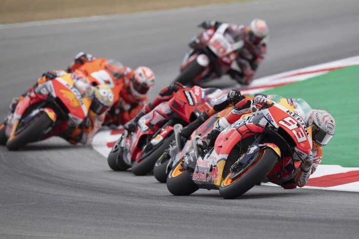 BARCELONA, SPAIN - JUNE 06: Marc Marquez of Spain and Repsol Honda Team leads the field during the MotoGP race during the MotoGP of Catalunya - Race at Circuit de Barcelona-Catalunya on June 06, 2021 in Barcelona, Spain. (Photo by Mirco Lazzari gp/Getty Images)