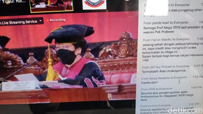 Zoom acara penganugerahan profesor kehormatan untuk Megawati.