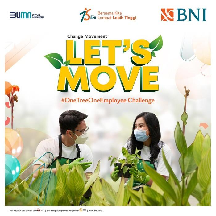 BNI mengajak para pegawainya atau BNI Hi-Movers menanam 7.500 pohon sebagai bagian dari aksi Change Movement dalam program inisiatif One Tree One Employee.