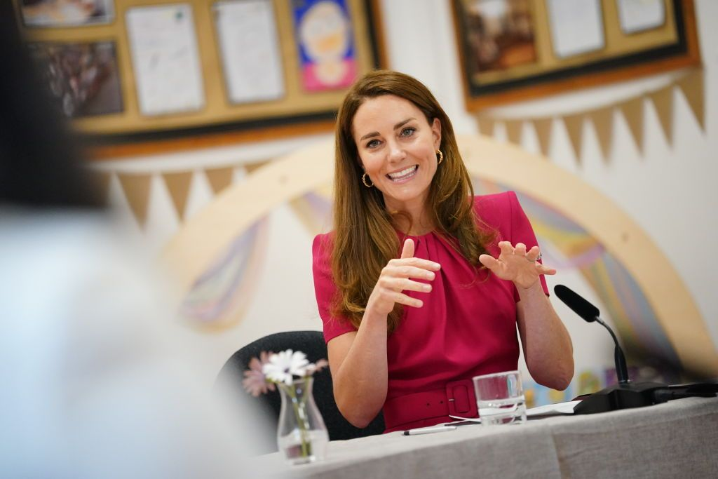 HAYLE, UNITED KINGDOM - JUNE 11: Catherine, Duchess of Cambridge participating in a roundtable discussion with a number of representatives from the early years sector who have been influential in the Duchess work in this space, during a visit to Connor Downs Academy, during the G7 summit in Cornwall on June 11, 2021 in Hayle, west Cornwall, England. (Photo by Aaron Chown/WPA Pool/Getty Images)