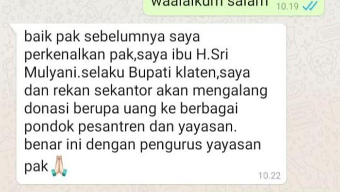 Tangkapan layar chat WA catut nama Bupati Klaten minta donasi